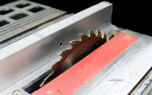 Adjust the table saw blade height for square board