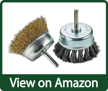 Katzco Wire Wheels Brush - 2 Pack Knotted and Crimped Cups for Rust Removal