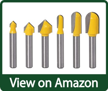 Yakamoz 6Pcs Shank Carbide 90 Degree V-Groove and Round Nose Groove Router Bit Set
