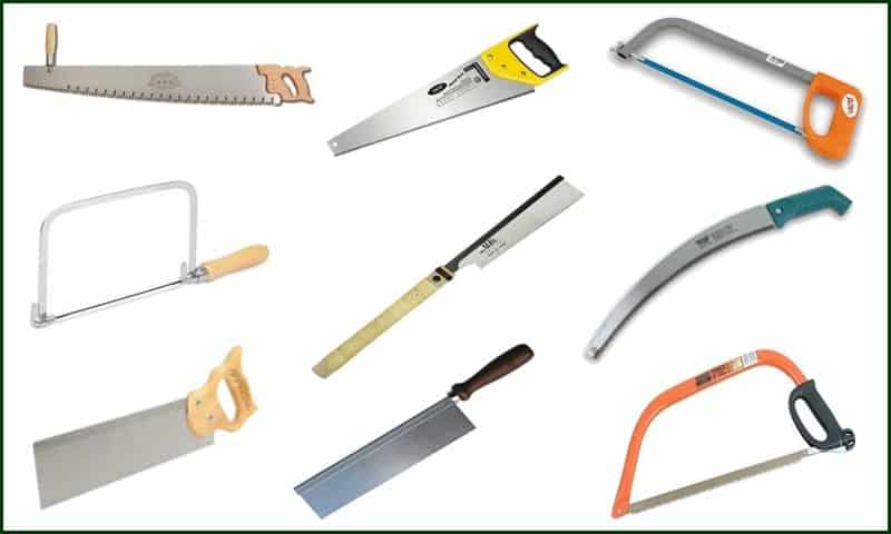 different types of hand saws and cutters