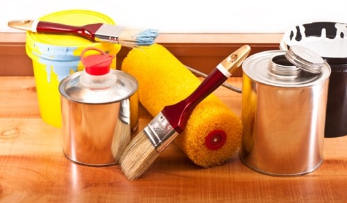 Paint Thinner Can, Brush & Roller